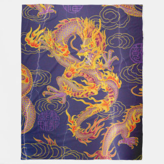 Most Popular Ancient Chinese Gold Emperor Dragon Fleece Blanket