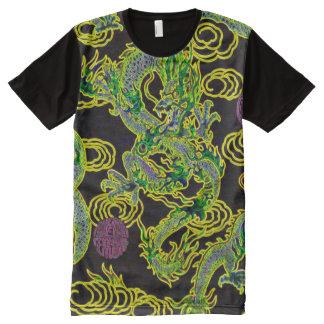 Most popular Chinese Dragon Neon Flame Art All-Over Print T-Shirt