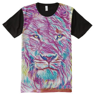 Most Popular Colorful Crayon Techno Lion Acid Trip All-Over Print T-Shirt
