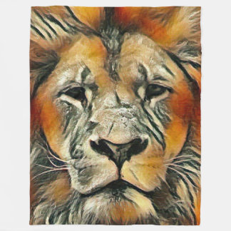 Most Popular Colorful Male Lion Fleece Blanket