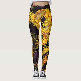 Most Popular Gold Emperor Dragon Kung Fu Style Leggings