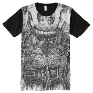 Most Popular Samurai Shogun Pencil Drawing All-Over Print T-Shirt
