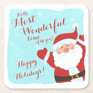 Most Wonderful Time Cartoon Santa Christmas Square Paper Coaster