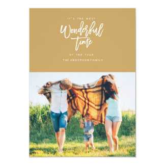 MOST WONDERFUL TIME christmas greeting card [gold] 13 Cm X 18 Cm Invitation Card