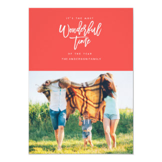 MOST WONDERFUL TIME christmas greeting card [RED] 13 Cm X 18 Cm Invitation Card