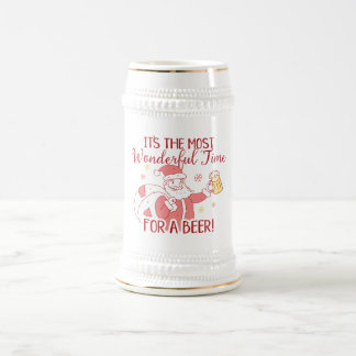 Most Wonderful Time for a Beer Santa Beer Stein