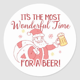 Most Wonderful Time for a Beer Santa Classic Round Sticker
