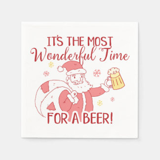 Most Wonderful Time for a Beer Santa Paper Napkin