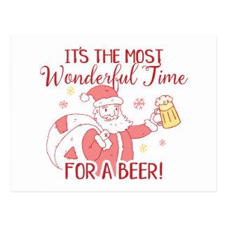 Most Wonderful Time for a Beer Santa Postcard
