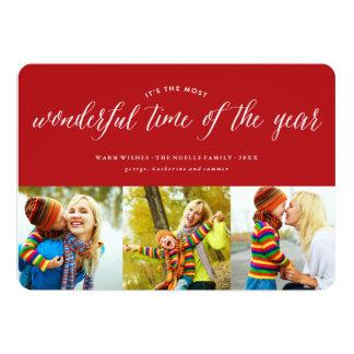 Most Wonderful Time Fun Holiday Photo Collage Card 13 Cm X 18 Cm Invitation Card