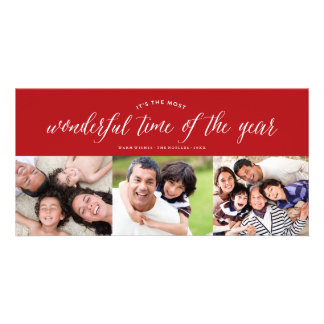Most Wonderful Time Modern Photo Holiday Greetings Customised Photo Card