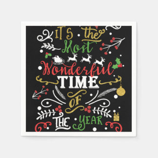 Most Wonderful Time of the Year Christmas Holiday Disposable Serviettes