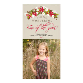 Most Wonderful Time of the Year Floral Wreath Personalized Photo Card