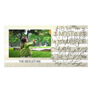 Most Wonderful Time Of The Year Script Gold Stripe Card