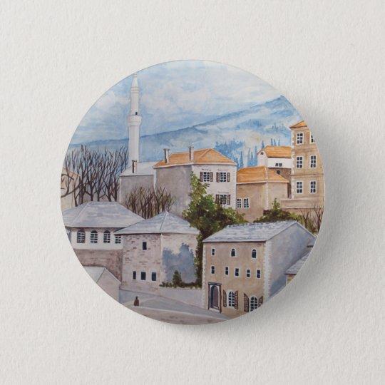 Mostar, Bosnia - Acrylic Townscape Painting 6 Cm Round Badge