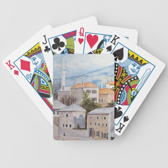 Mostar, Bosnia - Acrylic Townscape Painting Bicycle Playing Cards