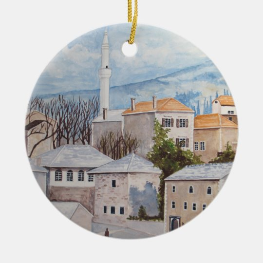 Mostar, Bosnia - Acrylic Townscape Painting Ceramic Ornament