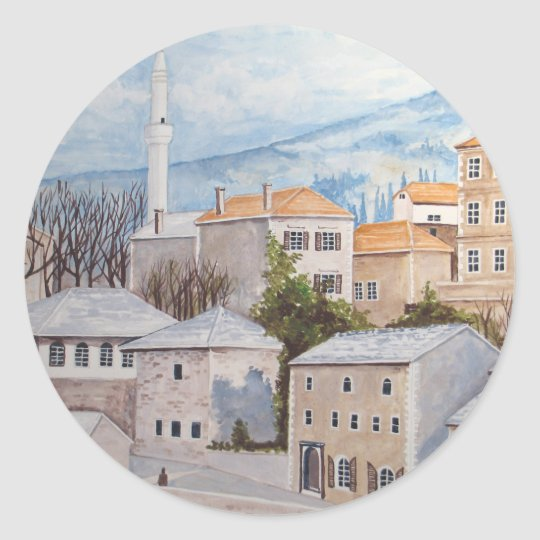 Mostar, Bosnia - Acrylic Townscape Painting Classic Round Sticker
