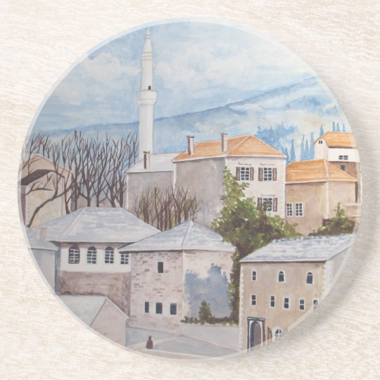 Mostar, Bosnia - Acrylic Townscape Painting Coaster