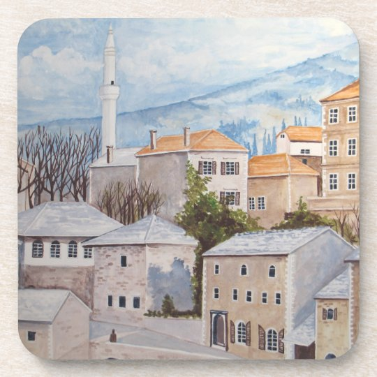 Mostar, Bosnia - Acrylic Townscape Painting Coaster