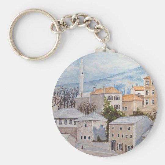 Mostar, Bosnia - Acrylic Townscape Painting Key Ring