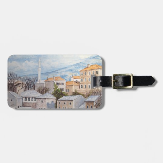 Mostar, Bosnia - Acrylic Townscape Painting Luggage Tag