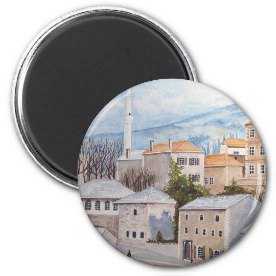 Mostar, Bosnia - Acrylic Townscape Painting Magnet