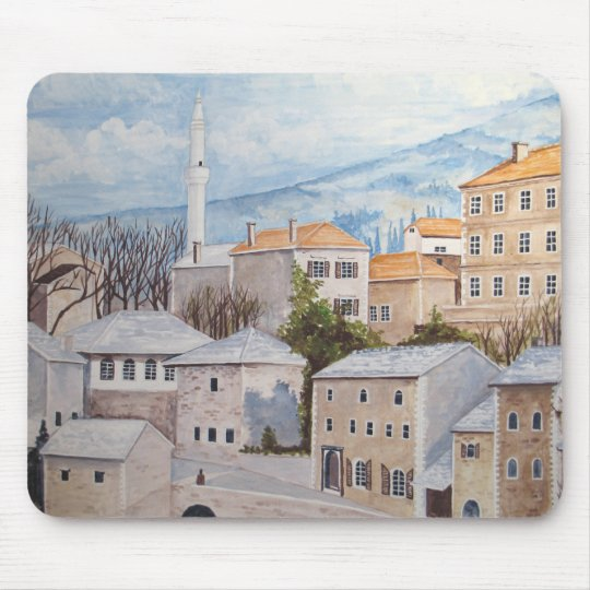 Mostar, Bosnia - Acrylic Townscape Painting Mouse Pad