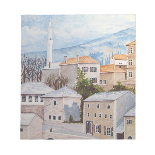 Mostar, Bosnia - Acrylic Townscape Painting Notepad