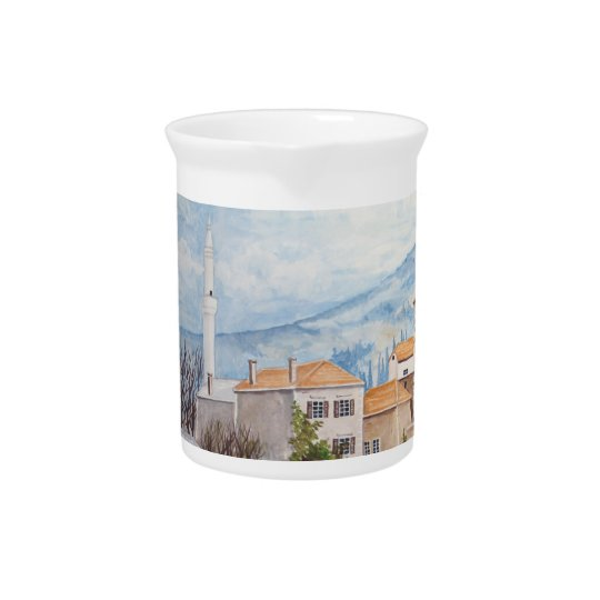 Mostar, Bosnia - Acrylic Townscape Painting Pitcher
