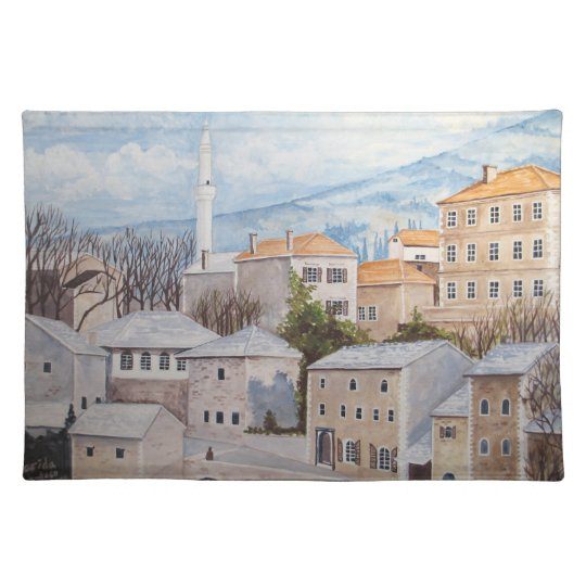 Mostar, Bosnia - Acrylic Townscape Painting Placemat