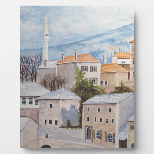 Mostar, Bosnia - Acrylic Townscape Painting Plaque