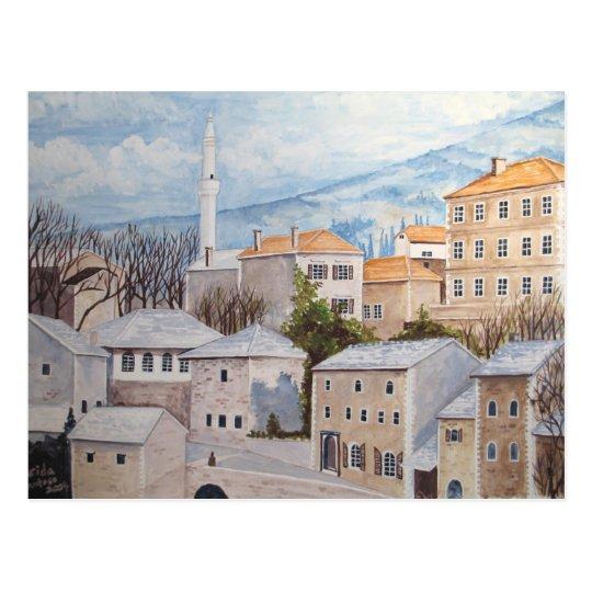 Mostar, Bosnia - Acrylic Townscape Painting Postcard