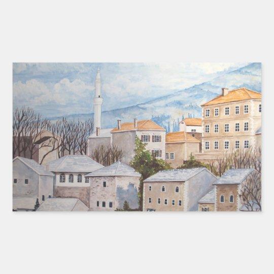 Mostar, Bosnia - Acrylic Townscape Painting Rectangular Sticker
