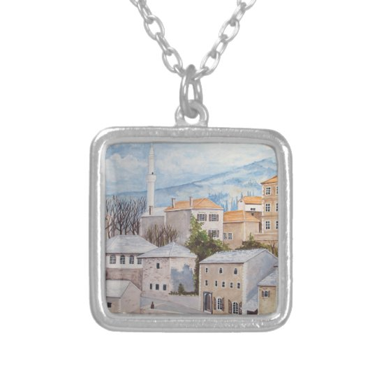 Mostar, Bosnia - Acrylic Townscape Painting Silver Plated Necklace