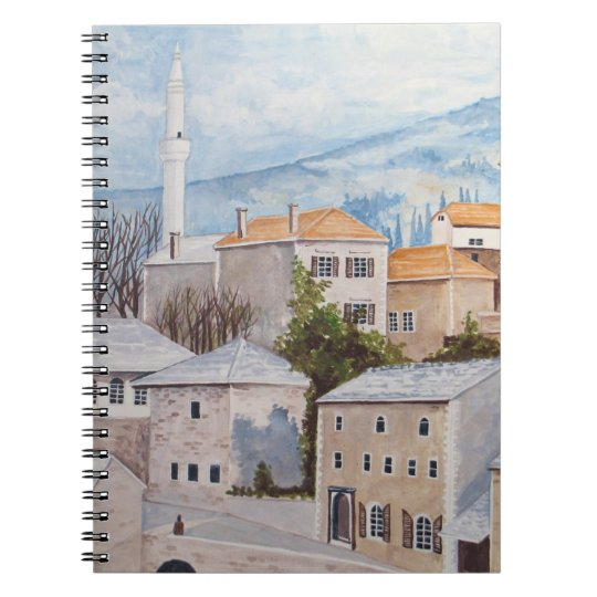 Mostar, Bosnia - Acrylic Townscape Painting Spiral Notebook