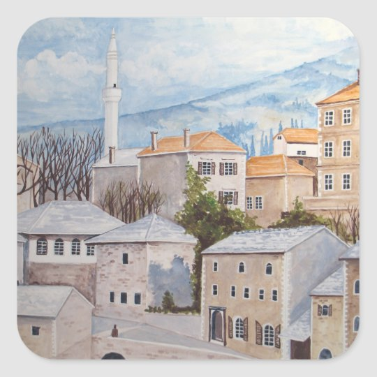 Mostar, Bosnia - Acrylic Townscape Painting Square Sticker