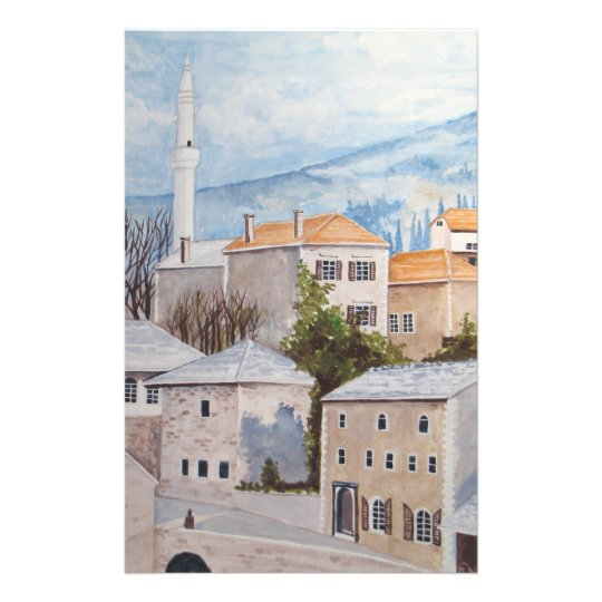 Mostar, Bosnia - Acrylic Townscape Painting Stationery
