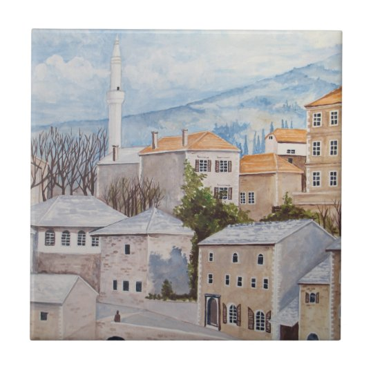 Mostar, Bosnia - Acrylic Townscape Painting Tile