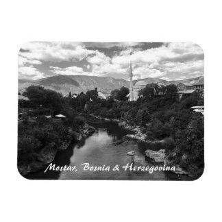 Mostar Bosnia & Herzegovina BW Magnet with writing