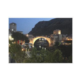 Mostar by night canvas print