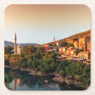 Mostar old city, Bosnia and Herzegovina Square Paper Coaster