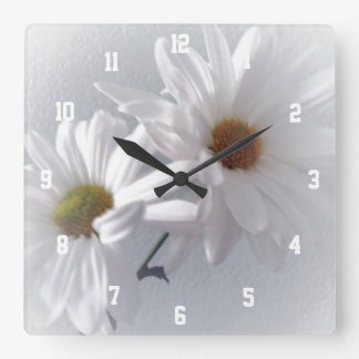 Mostly White Square Wall Clock