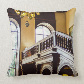 Moszna Castle Wooden Interior Architecture Throw Pillow