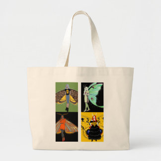 Moth fairies jumbo canvas tote bag