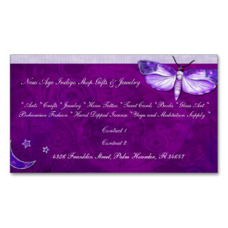 Moth Mystic New Age SLIM NEW AGE SHOP PSYCHIC Magnetic Business Card