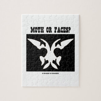 Moth Or Faces? (Optical Illusion Black White) Jigsaw Puzzle