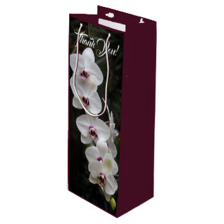 Moth Orchid Flowers White and Red Wine Gift Bag