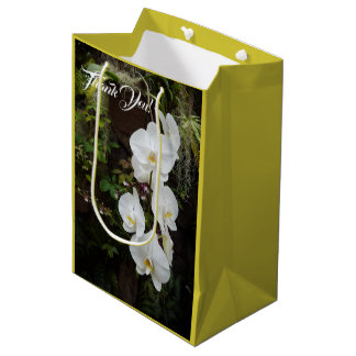Moth Orchid Flowers White and Yellow Medium Gift Bag