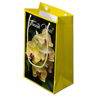 Moth Orchid Flowers Yellow and Red Small Gift Bag